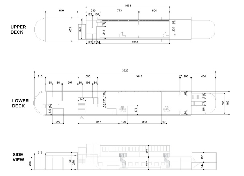 Layout and floorplan dimensions of the Battersea Barge